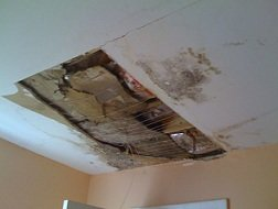 water damaged ceiling, damaged drywall
